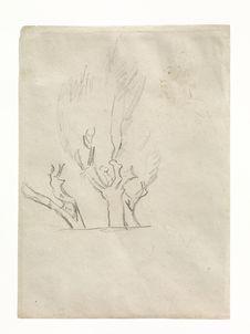 Etude d'arbres, profil d'homme, femme debout