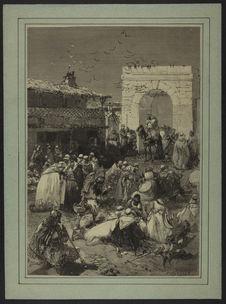 Sans titre [Algerie. Les Caïds et les djemmas du cercle de Saïda apportant au...