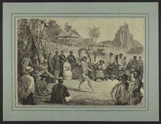 Colonies - Tahiti - Danses de Tahitiennes à Papeete, devant la cour du roi...