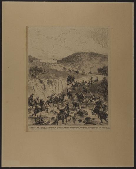 Expédition de Tunisie. L'entrée chez les Kroumirs. Le goum de la brigade Cailliot […] traverse l'Oued-Melida et s'empare du bordj tunisien de Hammam