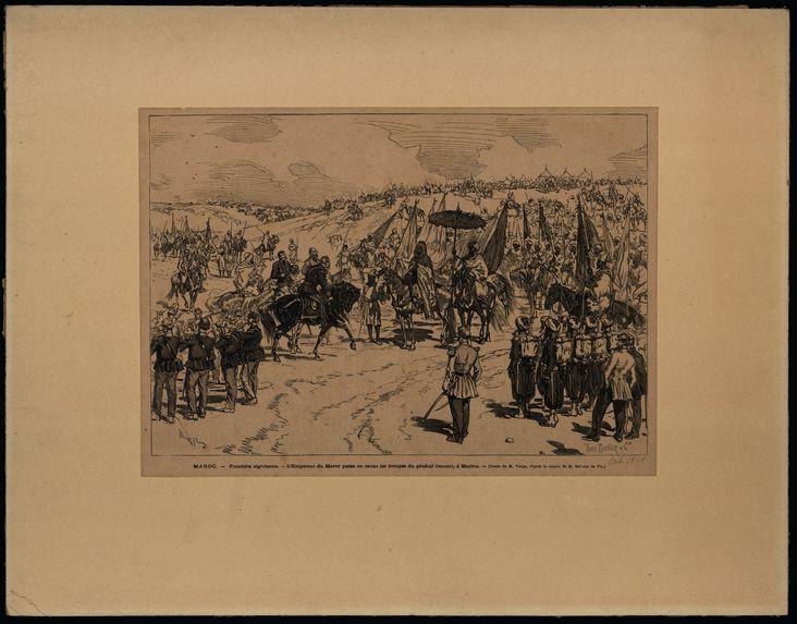 Maroc. Frontière algérienne. L'Empereur du Maroc passe en revue les troupes du général Osmont, à Marina