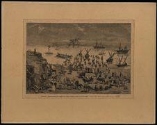 Tunisie. Réembarquement des troupes de la colonne Corréard à Skira, au nord de...