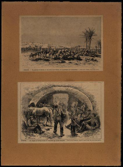 Vue générale de Kérouan, la ville sainte de la Tunisie - Les citernes de Catharge servant de campement aux troupes françaises