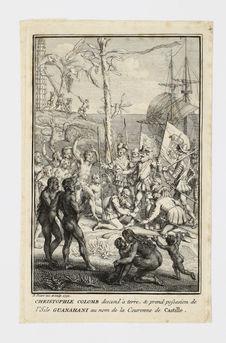 Christophle Colomb descend à terre, & prend possesion de l'Isle Guanahani au...