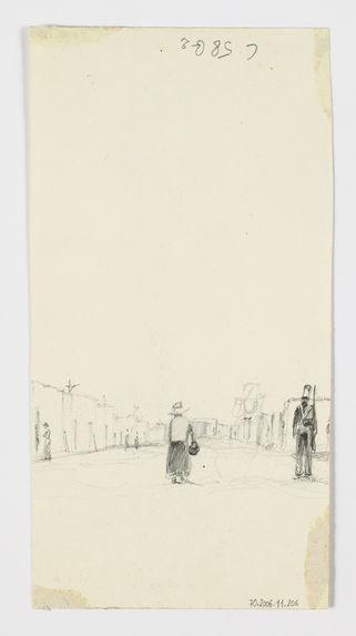 Femme et soldat dans un village