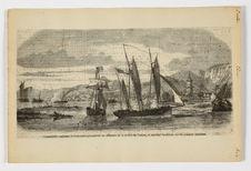 Canonnières anglaises et françaises parcourant les affluents de la rivière de...