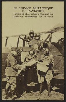 Le service britannique de l'aviation. Pilotes et observateurs étudiant les...
