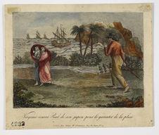 Virginie couvre Paul de son jupon pour le garantir contre la pluie