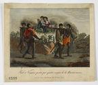 Paul et Virginie portés par quatre nègres de la Rivière-noire