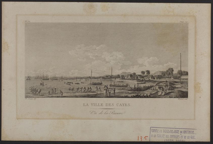 La Ville des Cayes. Vu de la Rivière