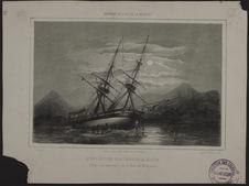 Le brig Le Victor de la station de la Réunion, Echoué à mer basse sur la côte de...