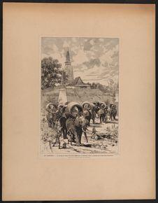 La caravane de chasse du protectorat français au Cambodge devant la montagne de...