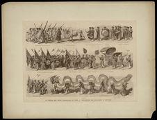Le défilé des fêtes coloniales du soir à l'esplanade des invalides - Exposition...