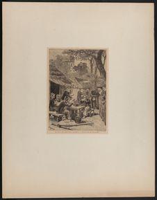 Le repas des Tirailleurs Anamites à l'Esplanade des Invalides lors de...