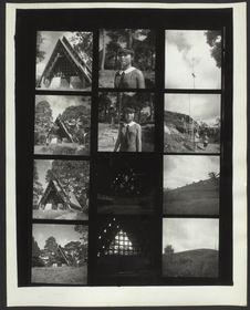 Planche contact de 12 vues concernant un monument, des portraits d'une jeune...