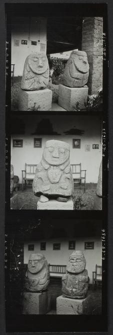Planche contact de 3 vues concernant les statues du musée de Huaraz