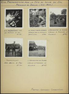 """Planche de photographies intitulé """" Rite préparatoire pour la fête du Génie..."""