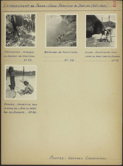 """Planche de photographies intitulé : """"enterrement de Taang-Jieng &quot"""