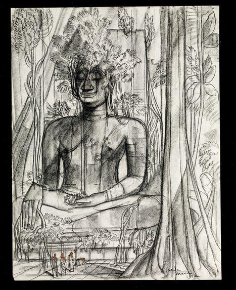 Vue d'une statue de Bouddha dans une forêt