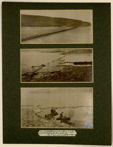 Barrage et établissement de culture de perle au fond de la baie de San Gabriel....