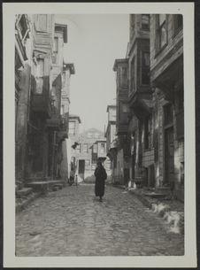 Istambul. Vieilles rues et maisons de bois dans le quartier à l'Ouest de...