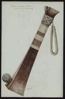 Bouton de la Guyane Hollandaise armé d'un celt préhistorique