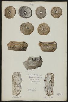 Poteries. Antiquités Caraïbes. Collection L. Guesde. Pointe à Pitre. Guadeloupe....