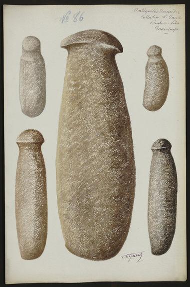 Antiquités Caraïbes. Collection L. Guesde. Pointe à Pitre. Guadeloupe [six objets]