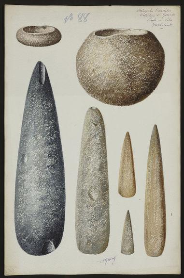 Antiquités Caraïbes. Collection L. Guesde. Pointe à Pitre. Guadeloupe [haches et mortiers (?)]