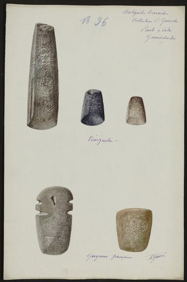 Antiquités Caraïbes. Collection L. Guesde. Pointe à Pitre. Guadeloupe. Vénézuela. Guyane française [cinq objets]