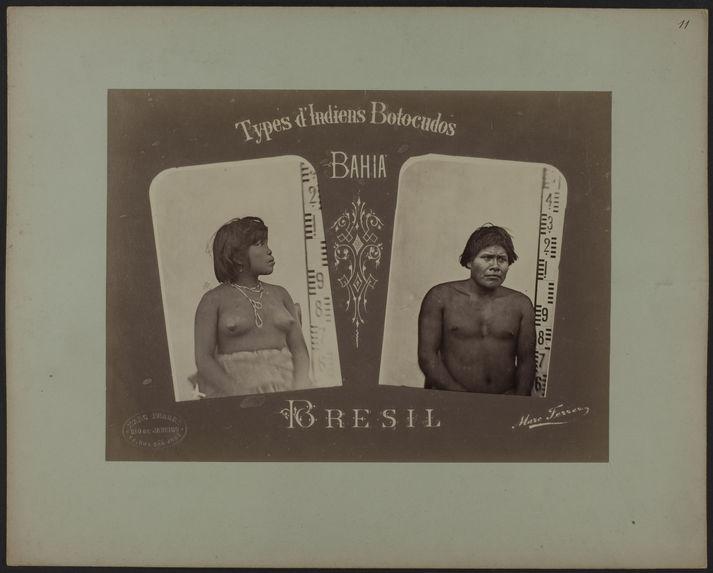 Types d'Indiens Botocudo, Bahia, Brésil