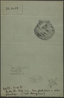 Fig. 57. Pueblo III. Etats-Unis. Vase globulaire à décor géométrique