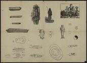 Sans titre [statuettes, personnages, glyphes, sortes de dolmens et os ?]