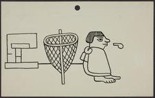 Sans titre [deux dessins représentant une personne avec un sifflet à côté d'un...