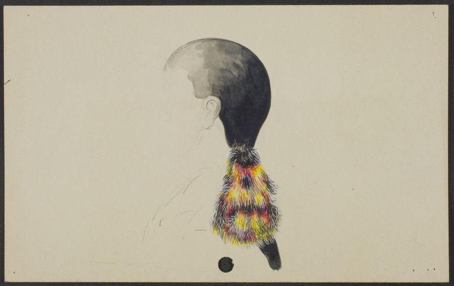 Lacandon [coiffure avec un ornement de plumes multicolore]