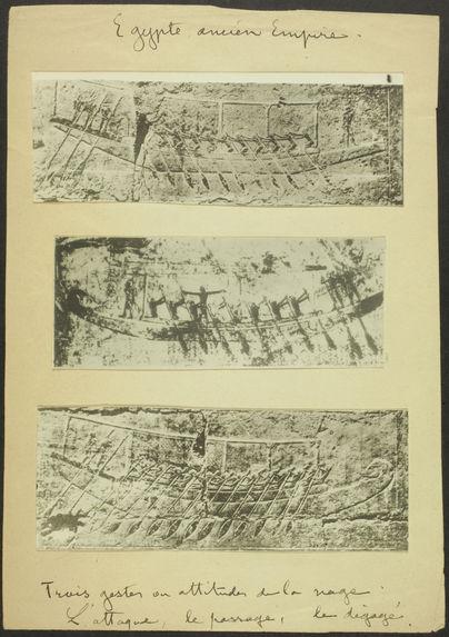 Egypte, Ancien Empire. Trois gestes ou attitudes de la nage. L'attaque, le passager, le dégagé [bas-relief]
