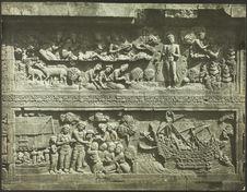 Le Bain du Bodhisattva, relief javanais de Borobudur [bas-relief]