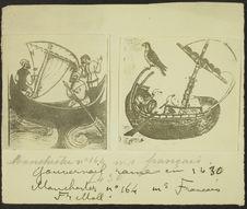 Gouvernail rame en 1430. Manchester n° 164. Ms Français [illustrations d'un...