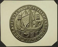 Hastings. XIIIe siècle. Gouvernail rame [sceau représentant un voilier]