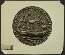 Gouvernail rame vers 1430. Sandwich [sceau ou monnaie représentant un voilier]