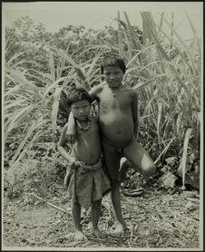 Sans titre [deux jeunes garçons, en pied, de face, un nu le second avec un pagne...