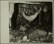 Sans titre [intérieur d'une habitation : paniers, hamac et un crâne jonche le...