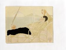 Iwasaki Yujiro étendu sur une chaise longue au large d'Oshima. A bord du Yamata....