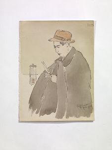 Amichiro (?). A man putting on a black cloak [un homme avec un manteau noir]