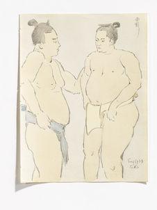 At Ryougoku, Sumou wrestlers [à Ryougoku, lutteurs Sumo]