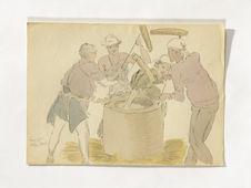 Paysans faisant le mochi (gâteau de riz)