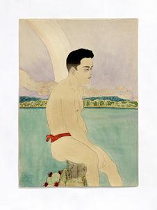 Jeune indigène assis. Jeune homme de Tinian