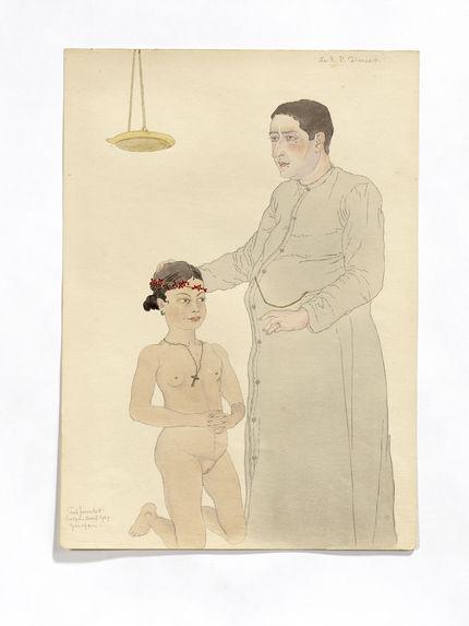 Le père Dionisio. Père espagnol et jeune indigène