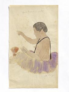 Femme tressant une corde
