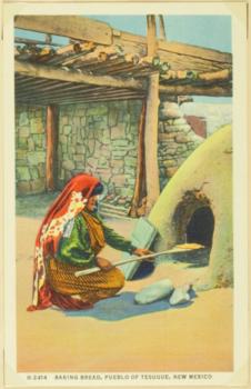 Baking bread, pueblo of Tesuque, New Mexico